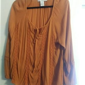 American Rag rust colored peasant shirt